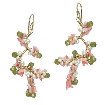 Green Peridot and Pink Coral Rose Gold Earrings