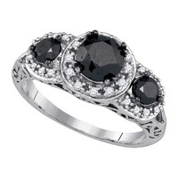 Black Diamond Bridal Ring with 1.29ct Center Round Stone in 10k White Gold 2.04 ctw