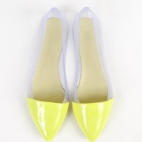 Pointy Two Tone Clear Glitter Jelly Flats | MakeMeChic.com