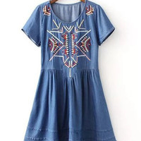 Blue Short Sleeve Embroidered Denim High-Low Dress