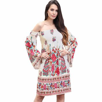 New Arrival Bohemian Fit And Flare Print Full None Above Knee Mini Flare Sleeve Empire Neck Summer Dresses