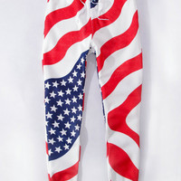 Stars and Stripes Flag Print Sweatpants