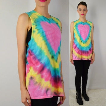 Tie Dye Tank Shirt Heart Soft Grunge Hippie Boho LARGE Womens Handmade Clothing Cutoff Shirt Pink Striped Funky
