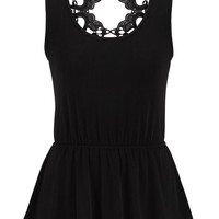Open Lace Back Peplum Tank - Black