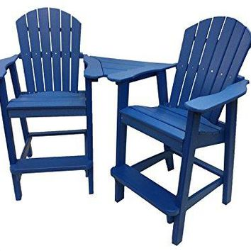 Phat Tommy Recycled Poly Resin Balcony Chair Settee – Durable and Adirondack Patio Furniture, Blue