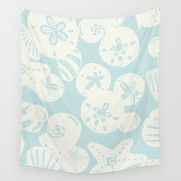 Cream Seashells on Aqua Wall Tapestry by Noonday Design