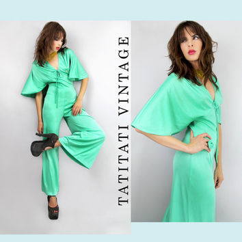 70s DISCO Foam Green CAPE Sleeves Palazzo Jumpsuit  // Vintage Clothes by TatiTati Vintage on Etsy