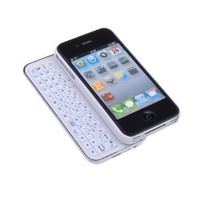 Slide Bluetooth Keyboard Case and Hardshell Case for iPhone 4S, White