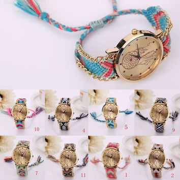 Women Girl's Friendship Band Knit Braided Dreamcatcher Pattern Bracelet Wrist Watch = 1958335556