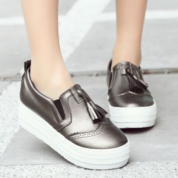 Women Platform Tassel Wedges Shoes Loafers