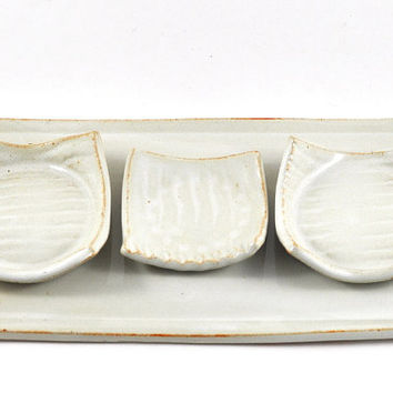 Tapas Sushi Serving Set Cream White Ceramic with Three Condiment Dishes on Tray Handmade Tableware