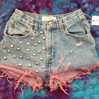 Studded denim shorts with pink dyed fray low or vintage high waist