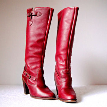 Vintage. 70's. Zodiac. Oxblood. Campus Boots. Dark Red. Buckles. Leather. Wooden Stacked Heel. Knee High. M. Size 8.5-9