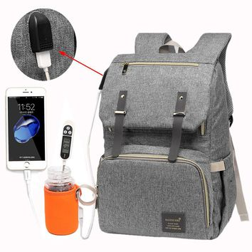 Diaper Bag USB Backpack Large Capacity Waterproof  Rechargeable Holder for Bottle