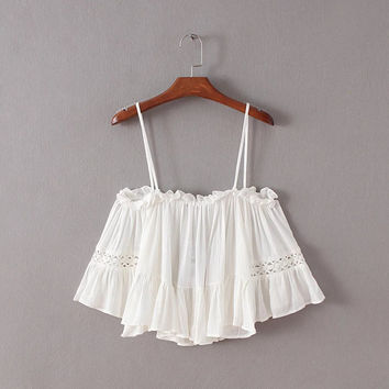 Summer Spaghetti Strap Hollow Out Decoration Tops Strapless Short Sleeve Shirt Loudspeaker [6332320580]