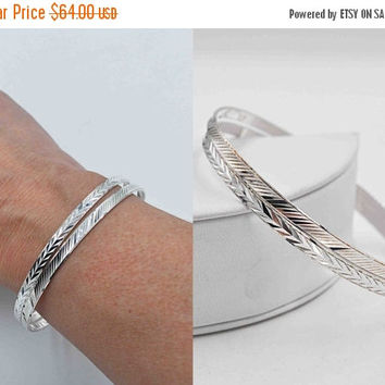 ON SALE Vintage Milor 925 Silver Bangle Bracelet Set, Set of 2 Bangles, Italy, Large Size, Chevron, Diagonal, Diamond Cut, Stacking #b704