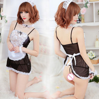 2016 Hot Ladies Temptation Lace Floral Nightdress Sexy Apron Service Cosplay Lingerie Erotic Maid Costume Fetish Slips A009