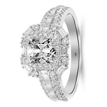 * 1.2 Ctw 14K White Gold GIA Certified Cushion Cut Double Row Baguette and Round Halo Diamond Engagement Ring, 0.5 Ct I-J VS1-VS2 Center