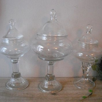 3 upcycled drug store pedestal candy jars .. Wedding Candy Buffet .. terrariums