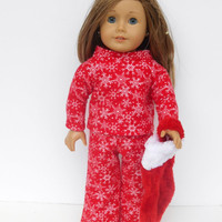 Red Flannel Doll Pajamas with Snowflakes, Doll Pyjamas, Christmas Pajamas, Winter Doll Clothes, fits 18 Inch Dolls such as American Girl