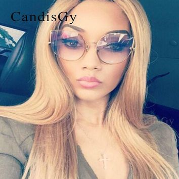 CandisGY Hipster Clear Eyeglasses Cateye Mirror Oversized Sunglasses Brand Designer Women Mirror Lady Sun Glasses Metal Frame