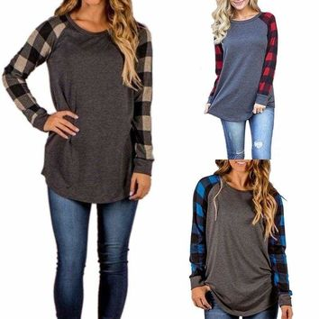 Women's Casual Long Sleeve Plaid Blouse Cotton Shirt Pullover Tops Tee Plus Size