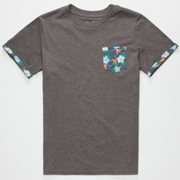 Blue Crown Tropic Space Flower Crew Boys Tee Charcoal  In Sizes