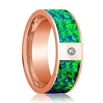 Flat Polished 14k Rose Gold and Diamond Men's Wedding Band with Emerald Green and Sapphire Blue Opal Inlay - 8MM