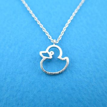 Little Rubber Ducky Duck Outline Shaped Pendant Necklace in Silver