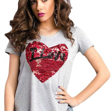 Chicloth Stunning Sequined Heart Grey Garter T-shirt