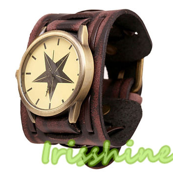 Irisshine A137 men watches New Style Retro Punk Rock Brown Big Wide Leather Bracelet Cuff Men Watch Cool