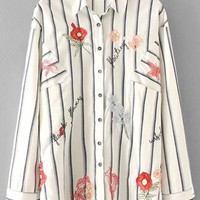 Oversized Flower Embroidered Striped Shirt