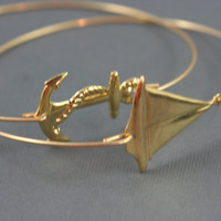 Gold sailboat and anchor  modern thin bangle set