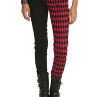 Royal Bones Black & Red Diamond Split Leg Skinny Jeans