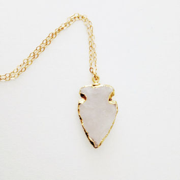 Crystal Quartz Arrowhead Necklace- 24k Gold Dipped Crystal Quartz Arrowhead Charm