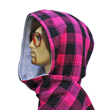 Scoodie Hooded Scarf Mens or Unisex Neon Pink Plaid