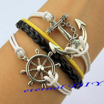 Antique anchor and anchor bracelet, black and silver braid anchor and yellowish-white wax rope bracelet, sailing the best bracelet, gifts