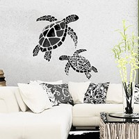 Wall Decal Vinyl Sticker Decals Turtle Tortoise Tortoiseshell Ocean Sea Bathroom Wall Decor Wall Stickers Home Decor Art Bedroom Design Interior Mural