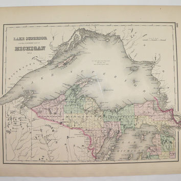 Vintage Michigan Map, Upper Peninsula 1876 O.W. Gray Map, MI Map UP, Unique Gift for Father, Lake Superior Map, Great Lakes, Michigan Gift