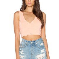 Bobi Cotton Lycra Crop Top in Peachy