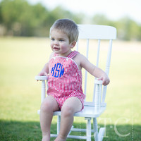 Unisex Sunsuit with Monogram - Red and White