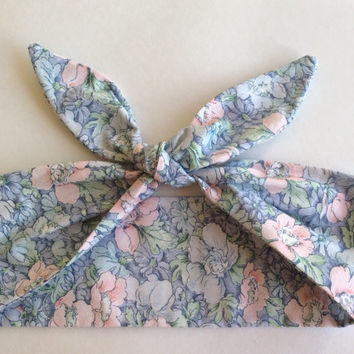 Dolly Headband, Tie-Up - Light Pink and Light Blue Flower Print - READY TO SHIP!