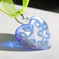Blue & Frost Glass Heart Pendant Necklace