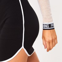 Black Contrast Binding Runner Mini Skirt