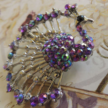Vintage Rhinestone Brooch,  Purple Peacock, Blue, Pink,Bird Pin, Bird, vintage jewelry,costume jewelry,statement jewelry