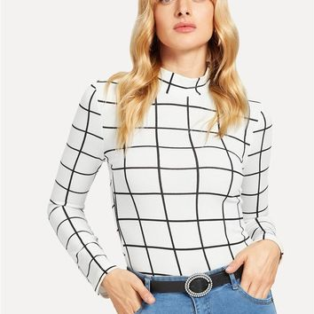 SHEIN White Office Lady Minimalist Mock Neck Grid Fitted Long Sleeve Fashion Tee 2018 Autumn Casual Workwear Women Tshirt Top
