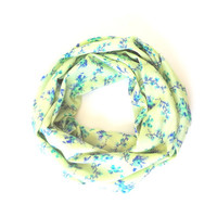 Mint Scarf, Infinity Scarf, Green Blue Scarf, Circle Scarf, Printed Scarf, Gift For Her, Floral Scarf, Pistachio