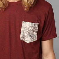 Europe Map Pocket Tee- Maroon