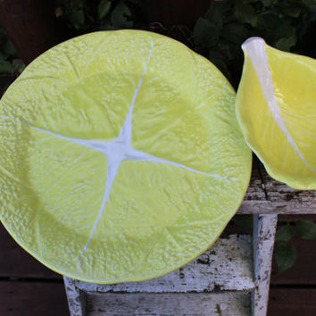 SALE Vintage Cabbage Pottery Dinnerware, Spring dishes, Retro Secla yellow cabbage plates bowls cups Majolica style dishes, spring table
