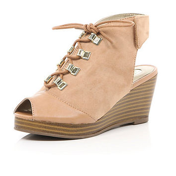 River Island Girls light brown lace up wedge shoes